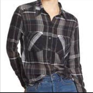 Free People Wesley Plaid Flannel Boyfriend Shirt M